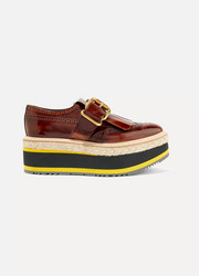 Fringed burnished-leather platform brogues