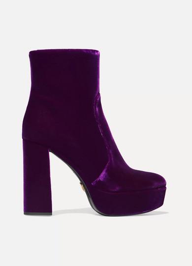30c186f4aff9 Prada. Velvet platform ankle boots