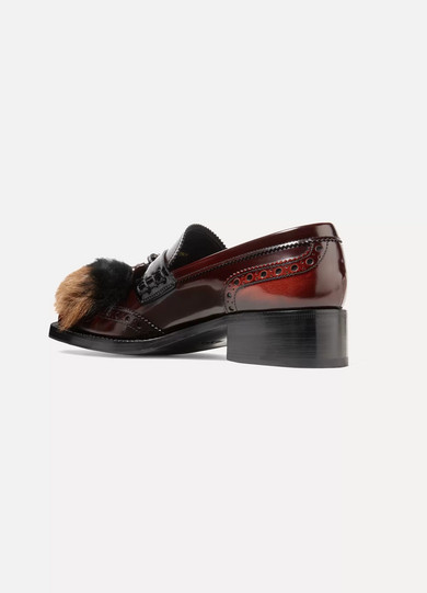 Shearling And Goat Hair-trimmed Burnished-leather Brogues - Brown Prada p1khHU6