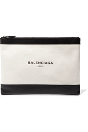 Balenciaga Clip medium leather-trimmed canvas pouch