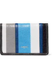Balenciaga Bazar striped glossed textured-leather wallet