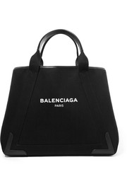 Balenciaga Cabas leather-trimmed printed canvas tote
