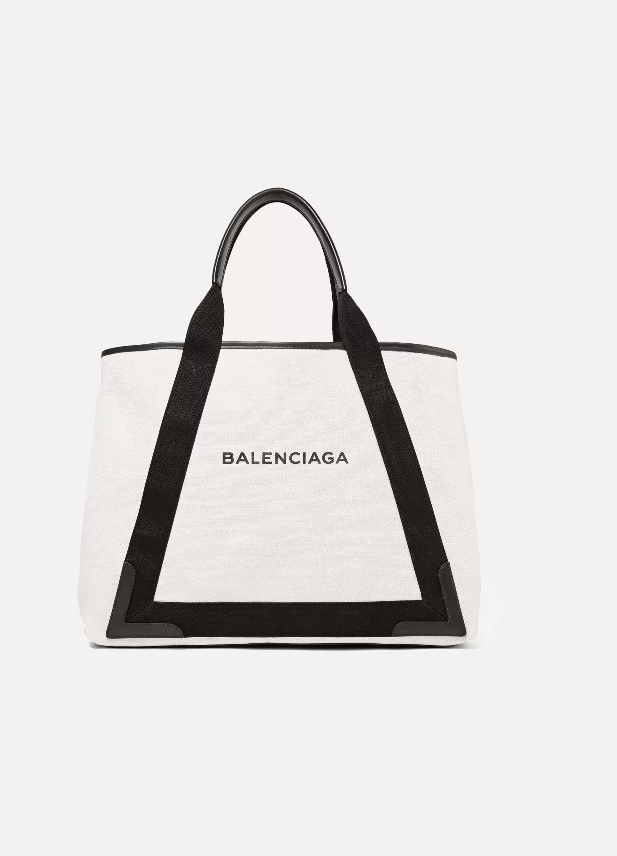 White Cabas leather-trimmed canvas tote