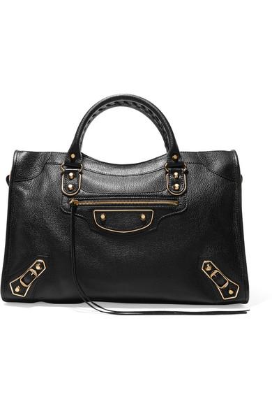 Balenciaga - Metallic Edge City Textured-leather Tote - Black at NET-A-PORTER
