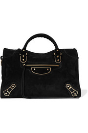 Classic Metallic Edge City suede tote