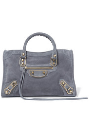 Balenciaga Metallic Edge City small suede tote