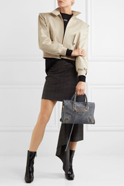 Metallic Edge City small suede tote