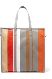 Balenciaga Bazar medium striped textured-leather tote