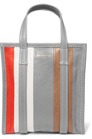 Bazar small striped textured-leather tote