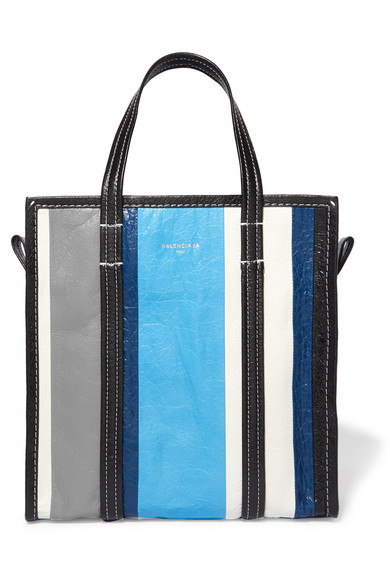 Balenciaga - Bazar Small Striped Textured-leather Tote - Blue at NET-A-PORTER