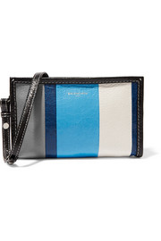 Bazar striped glossed textured-leather shoulder bag