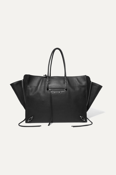 Papier Za A4 Textured-Leather Tote in Black