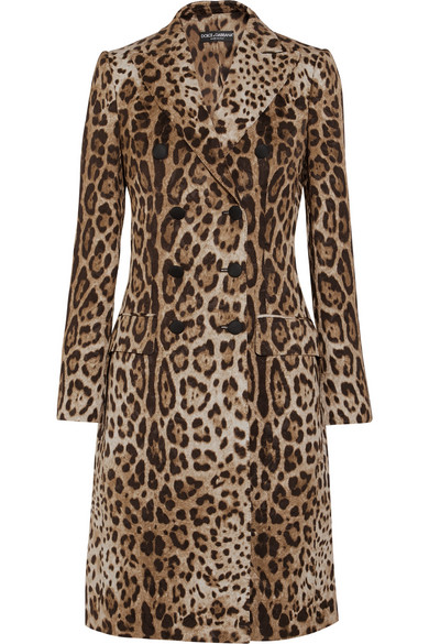 Dolce & Gabbana - Double-breasted Leopard-jacquard Coat - Brown
