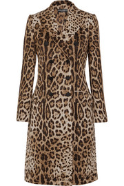 Dolce & Gabbana Double-breasted leopard-jacquard coat