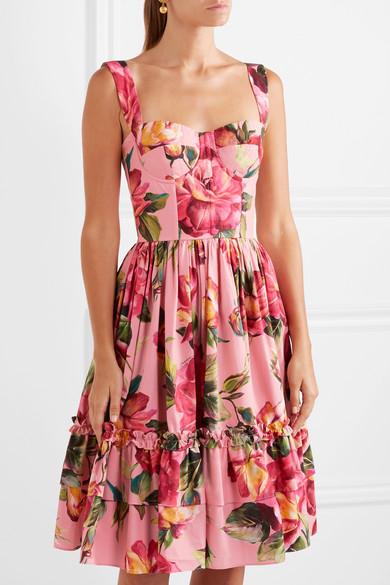 62466a1e Dolce & Gabbana | Floral-print cotton-poplin midi dress | NET-A ...
