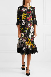 Dolce & Gabbana Lace-trimmed floral-print silk-blend midi dress