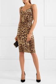Dolce & Gabbana Paneled leopard-print silk-blend cady dress