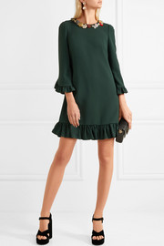 Embellished ruffled crepe dress