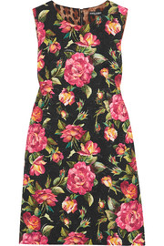 Dolce & Gabbana Floral-print cotton-blend jaquard mini dress