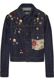 Dolce & Gabbana Flocked jacquard-trimmed embellished denim jacket