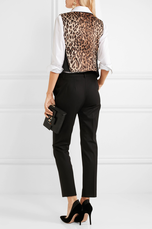 Dolce & Gabbana Pinstriped wool-blend and leopard-print satin vest