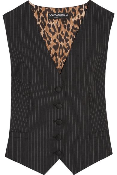 Dolce & Gabbana Weste aus einer Wollmischung mit Nadelstreifen und Satin mit Leopardenprint