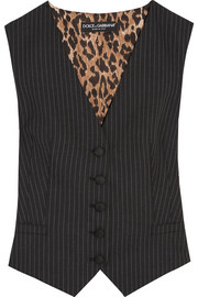 Dolce & Gabbana Pinstriped wool-blend and leopard-print satin vest