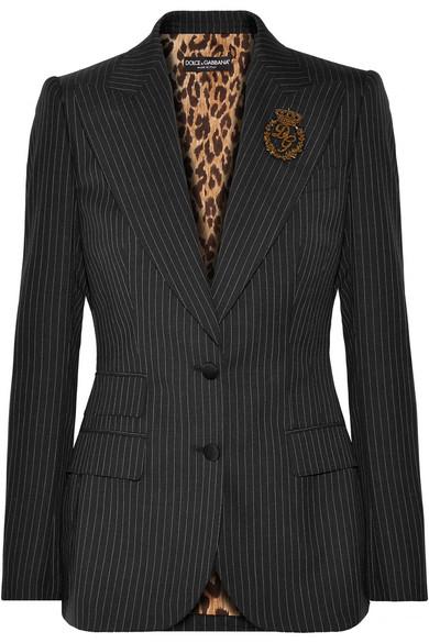 Dolce & Gabbana Verzierter Wollblazer mit Nadelstreifen