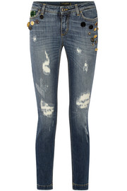 Dolce & Gabbana Embellished distressed mid-rise skinny jeans