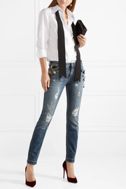 Embellished distressed mid-rise skinny jeans