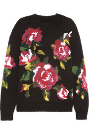 Dolce & Gabbana Oversized intarsia wool and cashmere-blend sweater