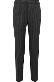 Pinstriped wool slim-leg pants