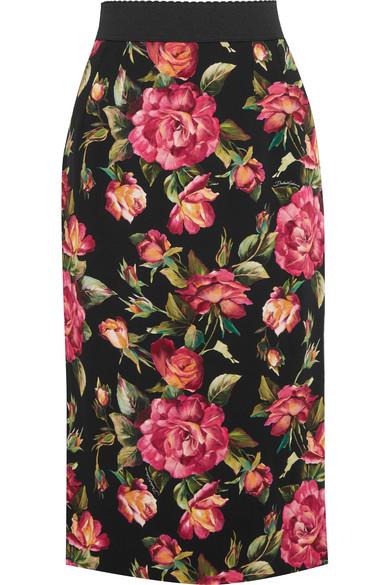5c46646d7b2 Dolce & Gabbana | Rose printed crepe skirt | NET-A-PORTER.COM
