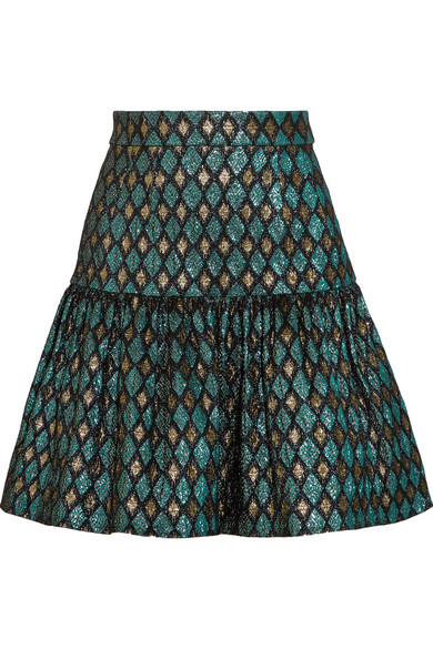 Dolce & Gabbana - Metallic Jacquard Mini Skirt - Blue