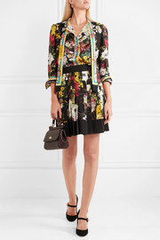 Dolce & Gabbana Fiori pleated floral-print silk-blend crepe de chine mini skirt