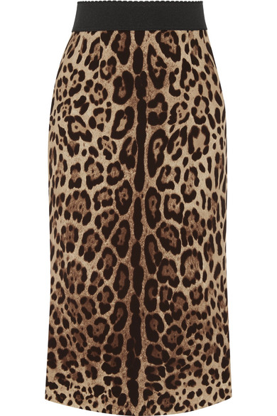 Dolce & Gabbana - Leopard-print Stretch-silk Pencil Skirt - Leopard print