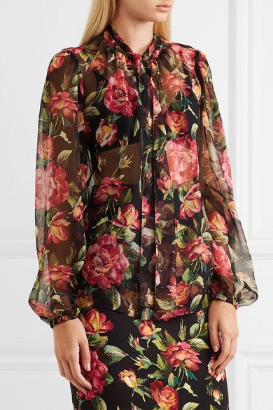 5c445a15066de5 Dolce   Gabbana. Rose pussy-bow printed silk-chiffon blouse