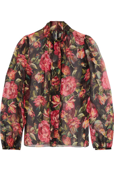 Dolce & Gabbana - Rose Pussy-bow Printed Silk-chiffon Blouse - Pink