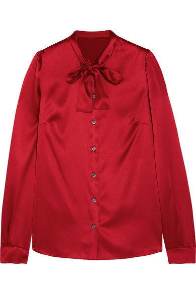 Dolce & Gabbana - Pussy-bow Silk-blend Satin Blouse - Red