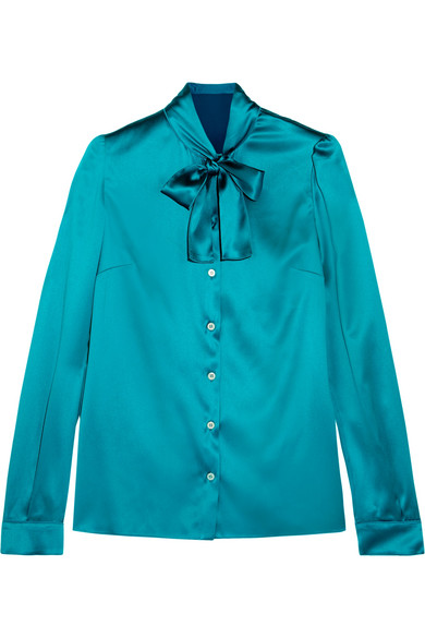 Dolce & Gabbana - Pussy-bow Silk-blend Satin Blouse - Turquoise
