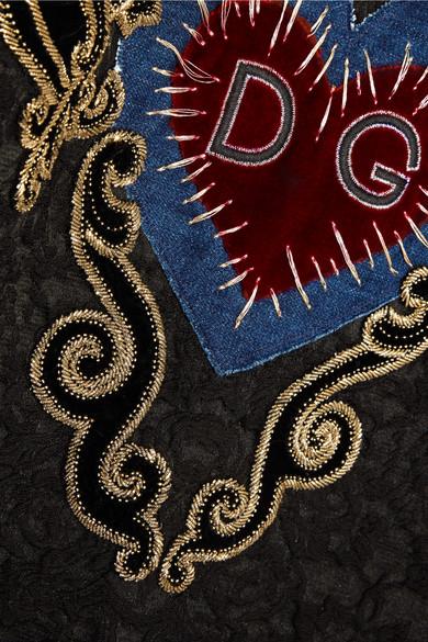 Dolce & Gabbana Oversized-Kapuzenpullover aus Jacquard aus einer Baumwollmischung mit Applikation