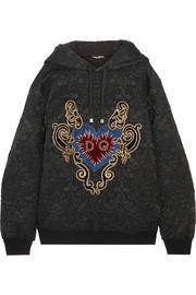 Dolce & Gabbana Oversized appliquéd cotton-blend jacquard hooded top