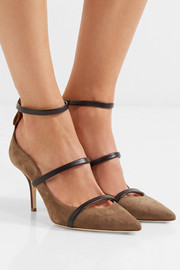 Malone Souliers Robyn leather-trimmed suede pumps