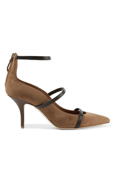 Malone Souliers - Robyn Leather-trimmed Suede Pumps - Tan