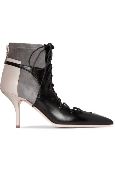 Malone Souliers Montana Lace-up Leather And Suede Ankle Boots In Black