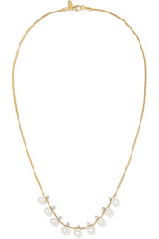 18-karat gold, pearl and diamond necklace