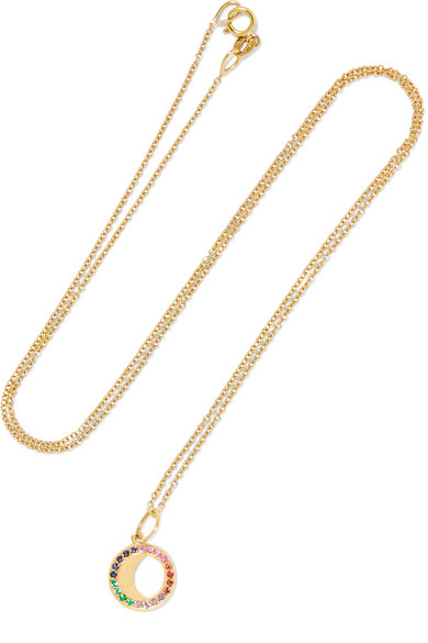 Waning Moon 18-karat Gold, Sapphire And Emerald Necklace - one size Andrea Fohrman