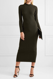Versace Button-embellished ribbed wool-blend midi dress