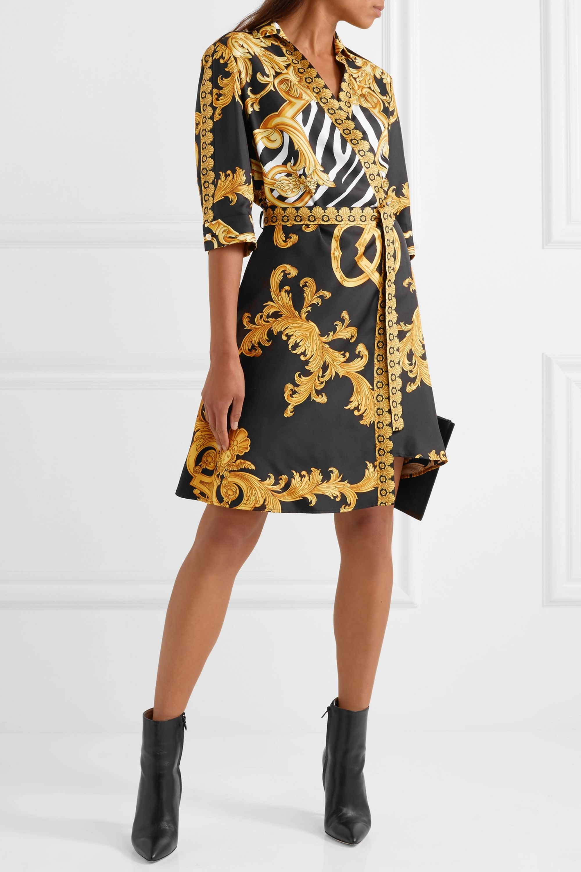 Versace Wrap-effect printed silk-twill mini dress