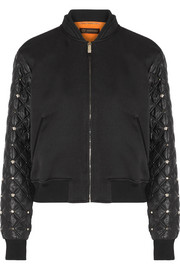 Cotton-blend and embellished shell bomber jacket